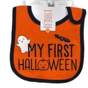 NWT Carters Orange My First Halloween Teething Bib